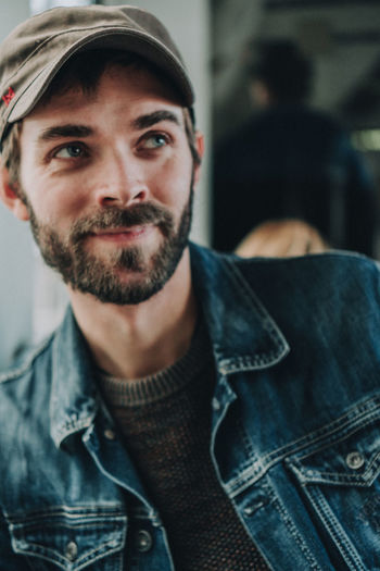 Adult Beard Casual Clothing Clothing Facial Hair Focus On Foreground Front View Headshot Incidental People Indoors  Jeans Lifestyles Looking At Camera Men People Portrait Real People Young Adult Young Men