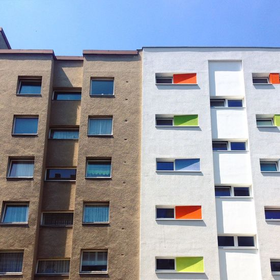 Abstract Architecture Berlin Photography Berliner Ansichten Berlinstagram Blue Building Building Exterior Built Structure City Clear Sky Day Façade Low Angle View Minimal Modern Architecture Multi Colored No People Outdoors Plattenbau Residential  Urban Window