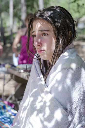 Close-Up Of Teenage Girl Wrapped In Towel
