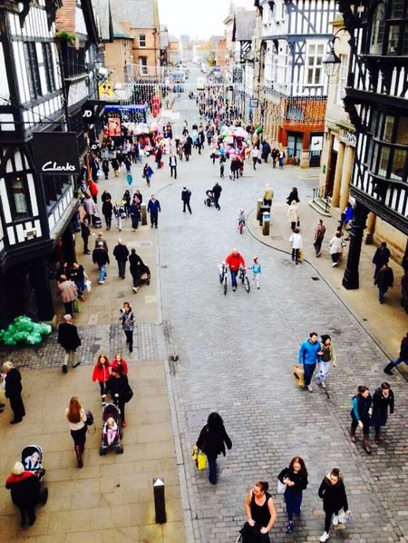 Chester💜✨ Large Group Of People City Men High Angle View City Life Person Lifestyles Street Building Exterior Architecture Walking Built Structure Leisure Activity Land Vehicle Transportation Crowd Travel Busy Casual Clothing Road