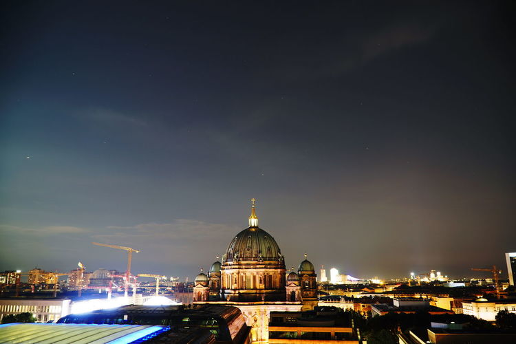 High Angle View Of Illuminated Cathedral Against Sky At Night