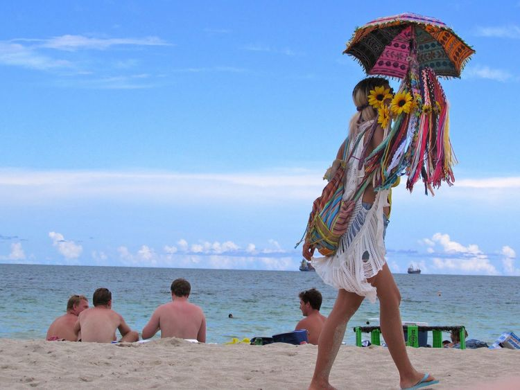 Colors Beachpeople Beachphotography Passing By Beach Beach Life Beach Day Sea Sand Sunflowers Colors Of Carnival Color Colorful Trend Outfit