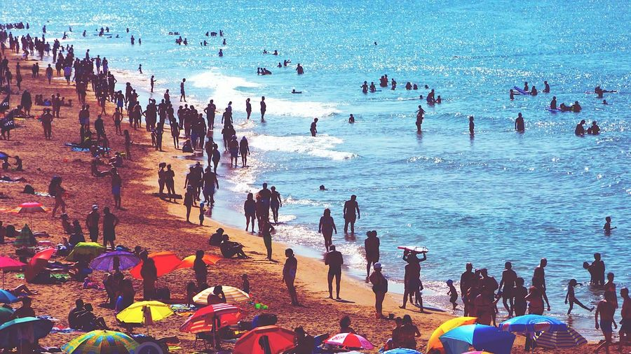 The Summers Day People On The Beach Mixed Age Range Week On Eyeem Fresh On Eyeem  Eyeemphoto Large Group Of People Seascape People On Beach Summer2016 Vacations Summer Surfing Beach Photography Beach Swimming Getting A Tan Enjoying The Sun Crowded Beach Life Leisure Activity Sea Walking People And Places