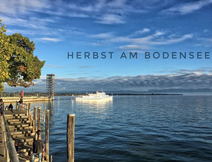 Sky Cloud Pier Outdoors Lake Of Constance Germany Autumn