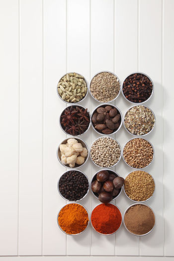 Directly above shot of various spices in bowl on table