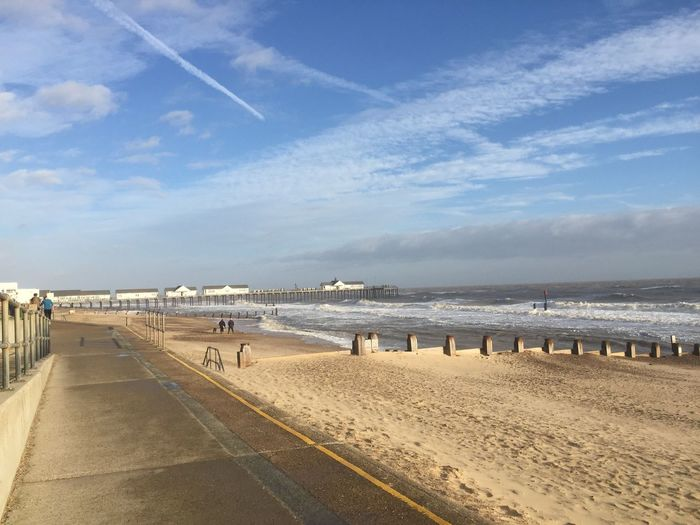 Beach Beauty In Nature Blue Cloud Cloud - Sky Clouds Clouds And Sky Day Horizon Over Water Incidental People Nature Person Sand Scenics Sea Shore Sky Southwold The Way Forward Tranquil Scene Tranquility Vacations Water Winter