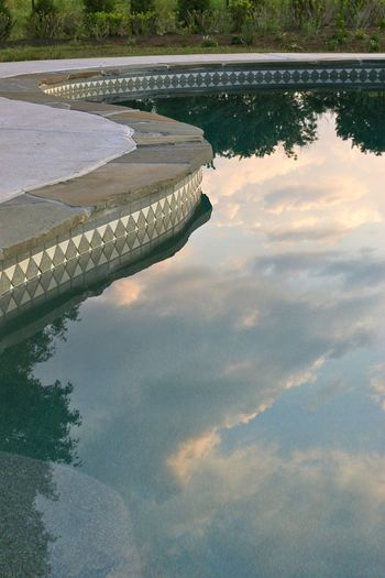 Clouds Curves Glass Outdoors Pool Pool Coping Pool Tile Reflections Sky