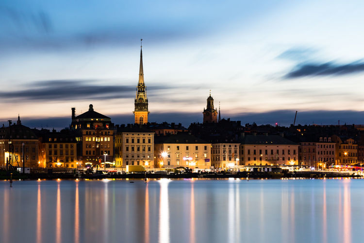 Stockholm Sweden at night. Stockholm Stockholm, Sweden Architecture Building Building Exterior Built Structure City Cityscape Cloud - Sky Dusk Illuminated Nature Night No People Outdoors Reflection Sky Spire  Sweeden Tourism Tower Travel Travel Destinations Water Waterfront EyeEmNewHere