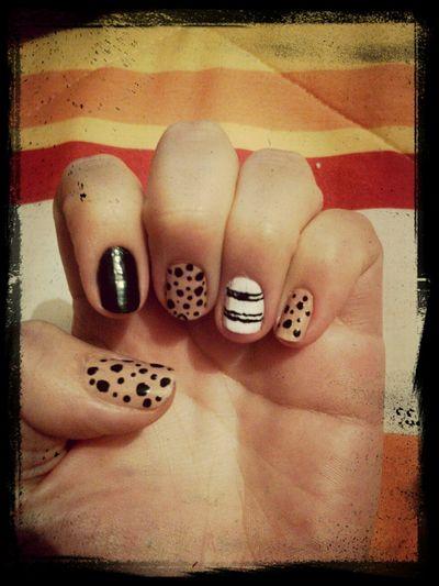 Nails Design White Black #nude #easy First Eyeem Photo