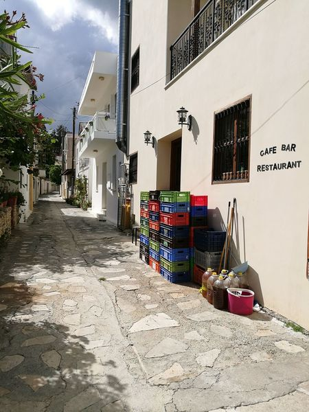 Alley Tiny Street Omodos Cyprus Architecture Building Exterior Built Structure Day Outdoors No People Sky Dark Clouds Sunny HuaweiP9