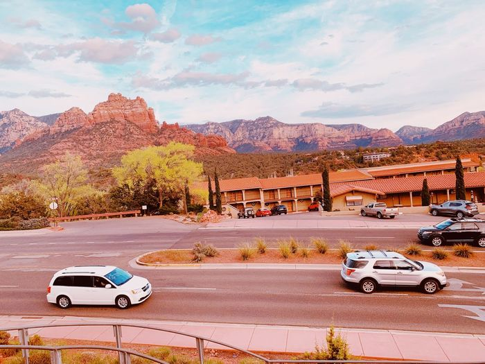 Sedona street view Mode Of Transportation Car Motor Vehicle Transportation Land Vehicle Road Sky Tree Street Architecture Plant No People City Outdoors Building Exterior Cloud - Sky Mountain Day Travel Nature