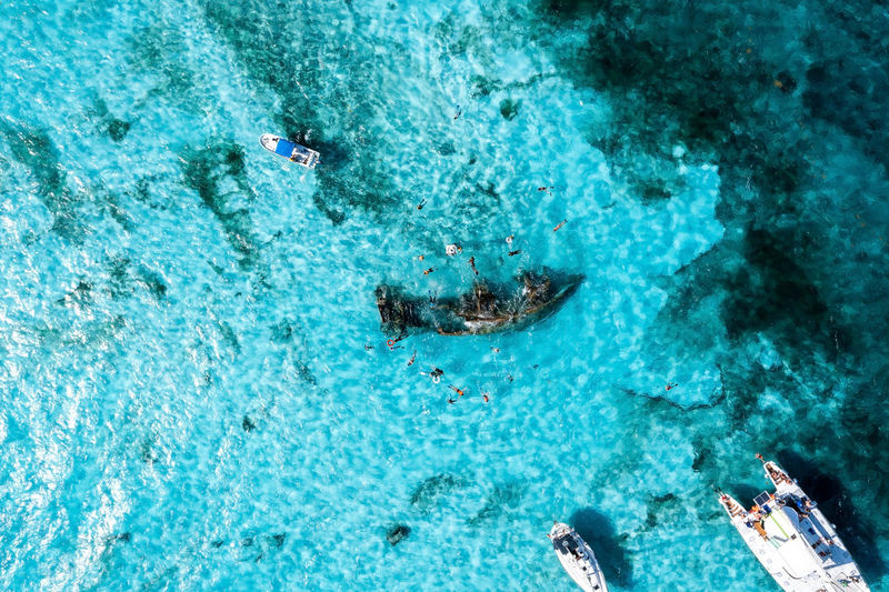 People snorkelling around the ship wreck near bahamas in the caribbean sea.