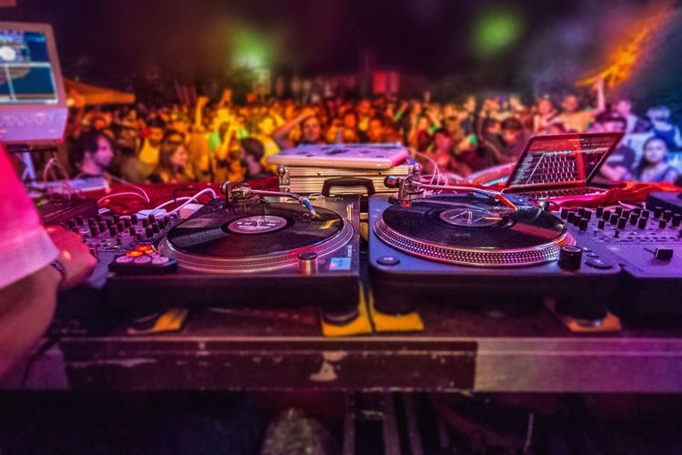 Dj turntables at live event