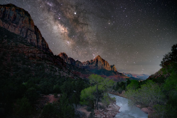 Milky Way above The Watchman in Zion National Park, Utah Star - Space Astronomy Beauty In Nature Milky Way Outdoors Tranquility Zion National Park The Watchman Springdale, Utah Non-urban Scene No People Mountain Range National Park United States Scenics - Nature Sky Night Galaxy Idyllic Space Nature Long Exposure Exposure Stack Fujifilm_xseries The Great Outdoors - 2019 EyeEm Awards