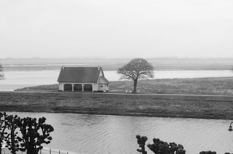 Beauty In Nature Black And White Day Explore French Green House Little House Nature No People Outdoors River Saint Petersburg Saint Valery En Caux Saint Valery Sur Somme Scenics Sky Tranquility Travel Tree Water White White Clouds