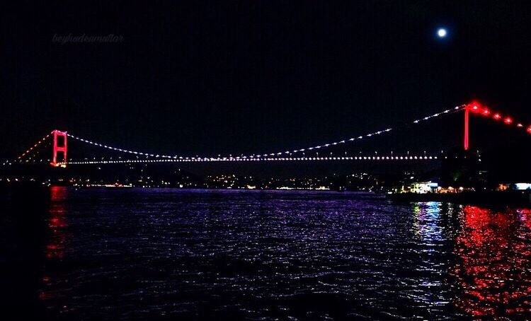 Night Suspension Bridge Connection Illuminated Bridge - Man Made Structure Engineering Transportation Travel Destinations Water Architecture Travel Outdoors River Tourism Built Structure Sky No People Chain Bridge Nature