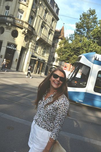 City Fashion Sunglasses Portrait Women Lifestyles Street Smiling Long Hair Young Women Summer Outdoors Travel City Zürich People Switzerland Buildings Town City Life