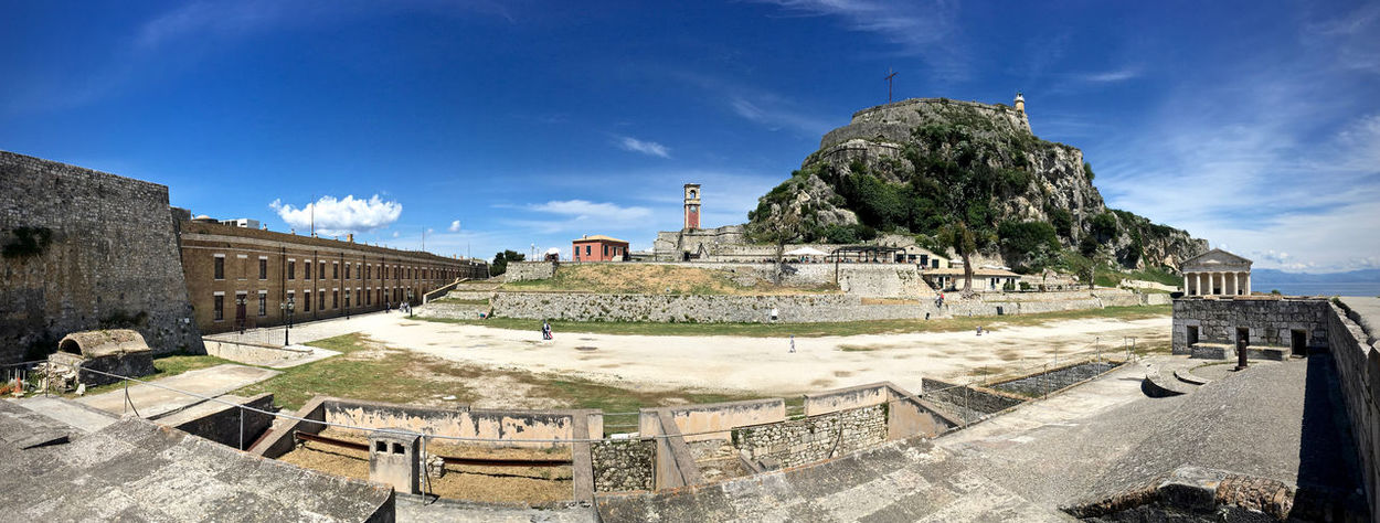 Old Fortress Grounds Old Fortress Panorama Ancient Ancient Architecture Ancient Civilization Ancient Structure Architecture Building Exterior Built Structure Corfu Corfu Town Day Greece Grounds History History Architecture Kerkyra Monument No People Old Ruin Outdoors Sky Sunlight Travel Destinations