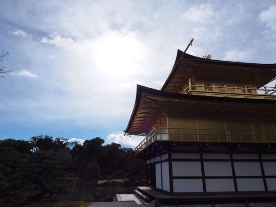 Kyoto Japan Kinkakuji Kinkakuji Temple Temple Otherside Sun Sky Golden Winter Olympus PEN-F 京都 日本 金閣寺 鹿苑寺 寺 太陽 空 裏側 金