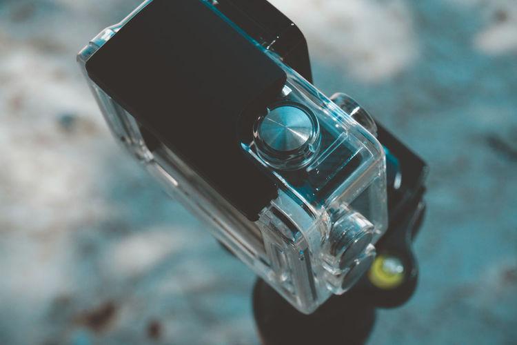 High angle view of camera on tripod
