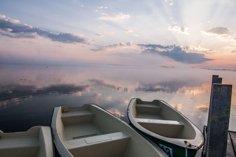 Federsee Beauty In Nature Boat Boats Built Structure Cloud - Sky Day Nature Nautical Vessel No People Outdoors Scenics Sky Sunset Tranquil Scene Tranquility Water