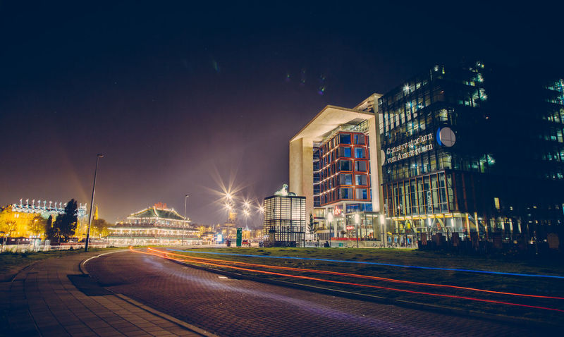 Amsterdam Architecture Beautiful City Holland Library Light Trails Long Exposure Moonlit Netherlands Night Night Photography
