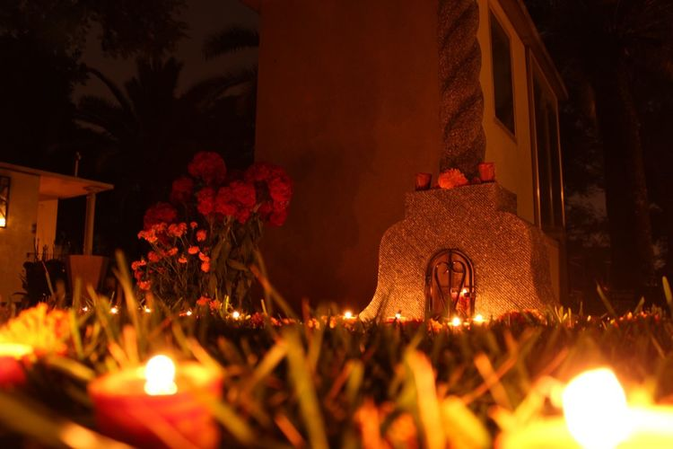 Night Architecture Religion Graveyard Day Of The Dead Dia De Los Muertos Candle No People Sculpture Stone Oaxaca Spirituality Dark Illuminated Altar Cultures