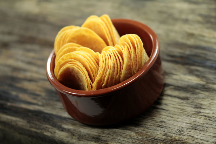 Chips Paprikachips Potatoes Chips Rustic Style Stack Chips Stapelchips Wooden Texture