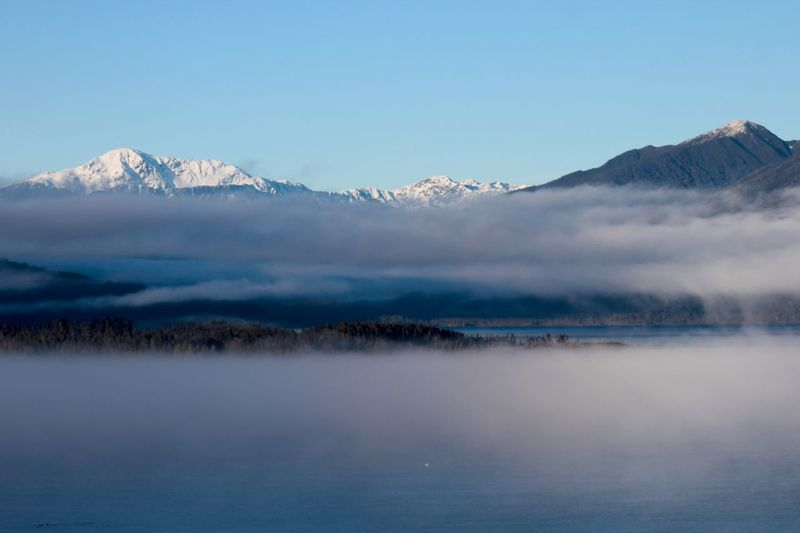 View of snowcapped mountain range