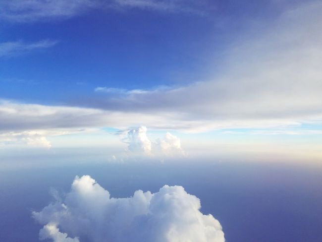 Airplane Plane Flying Blue Sky Cloud - Sky Travel Sky Only Cumulus Shining Cumulus Cloud Infinity Cloudscape Meteorology Heaven Fluffy Cumulonimbus Idyllic Scenics