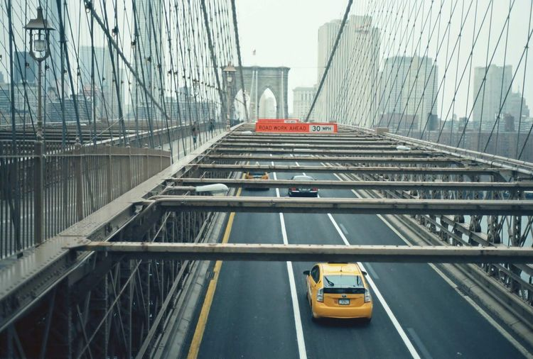High angle view of cars on brooklyn bridge in city