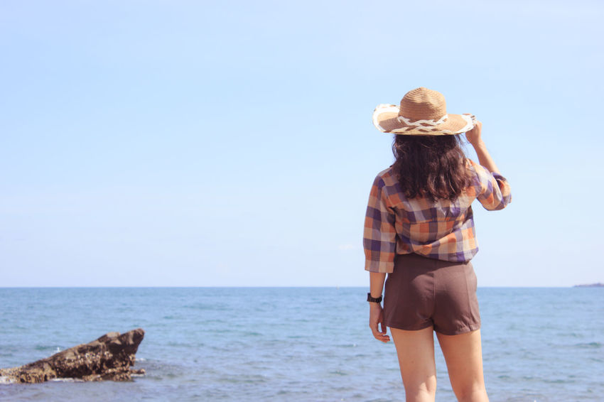 Beautiful girl in vacation time at sea. Soft light, Soft focus. Pastel or Vintage style. Beautiful Girl Holiday Nature Pastel People Portrait Relaxation Sea Sky Soft Focus Soft Light Summer Vacations Woman