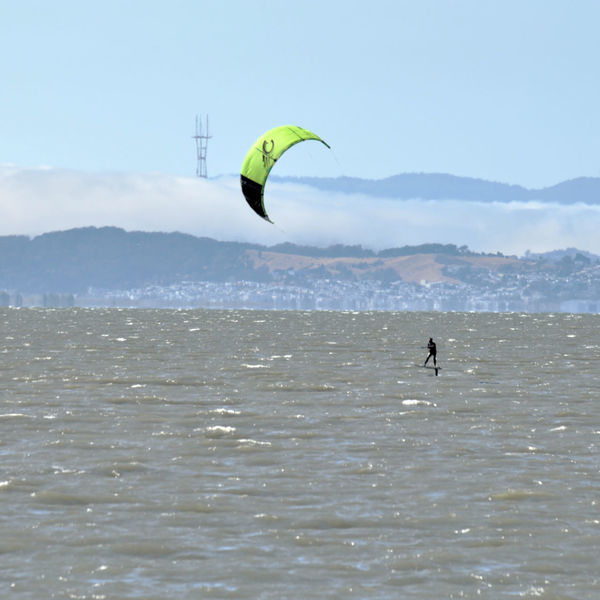 Kiteboarding In San Mateo 12 San Francisco Bay Sutro Tower Fog Foggy Day Marine Layer Colorful Sails Kitesurfer Kiteboarding Kite Surfing Gusty Wind Wind Power Aquatic Sports Enjoying Life Hills Of San Francisco Water Water Sports Sail Power
