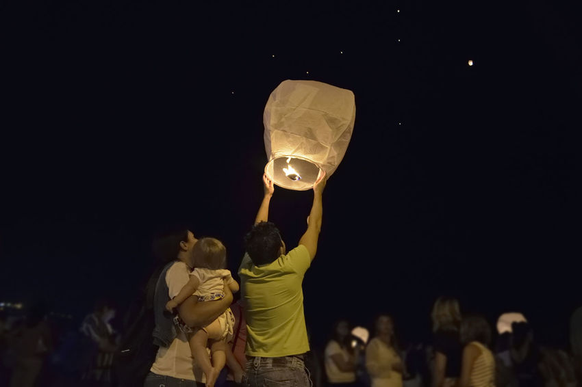 Family❤ Hope Mother Father Future Night People Sky Lantern Summer Wish Be. Ready.