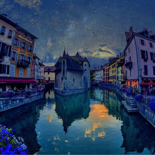 Architecture Reflection Building Exterior Built Structure Water Sky Travel Destinations Star - Space Flower City Annecy, France Love