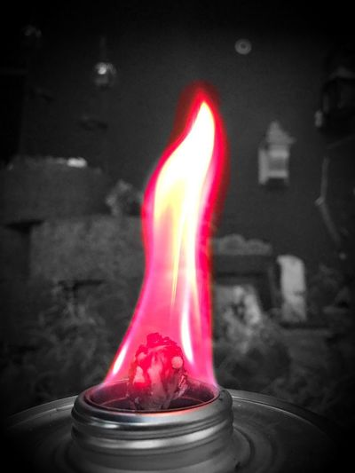 Color Touch Flamme Rot Flame Red Indoors  Close-up Burning Fire Motion Focus On Foreground