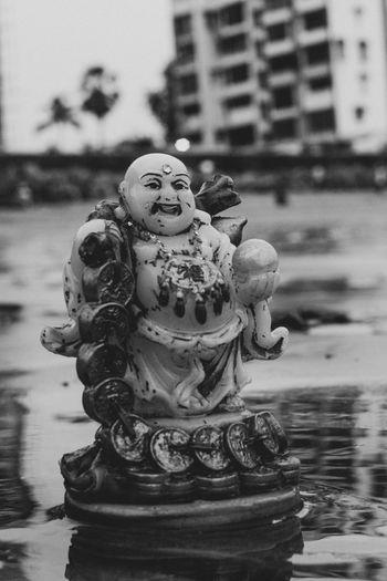 Laughing (at us) Buddha! EyeEm Best Shots Eyeemmonochrome EyeEmNewHere EyeEm EyeEmGalley Eyeemgallery Eyeemindia Indiaclicks Indianstories Indianculture Beachlife Lifestyles Sculpture Human Representation Art And Craft Close-up Statue Idol Buddha Sculpted Buddhism