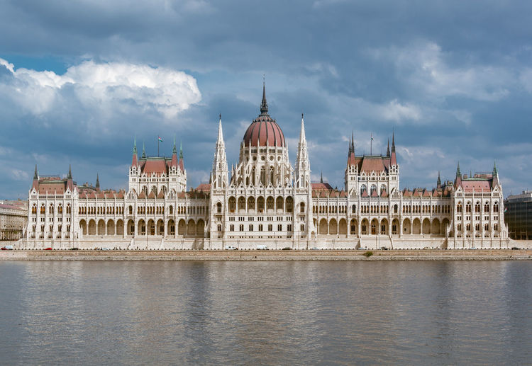 Hungarian parliament building by river against cloudy sky