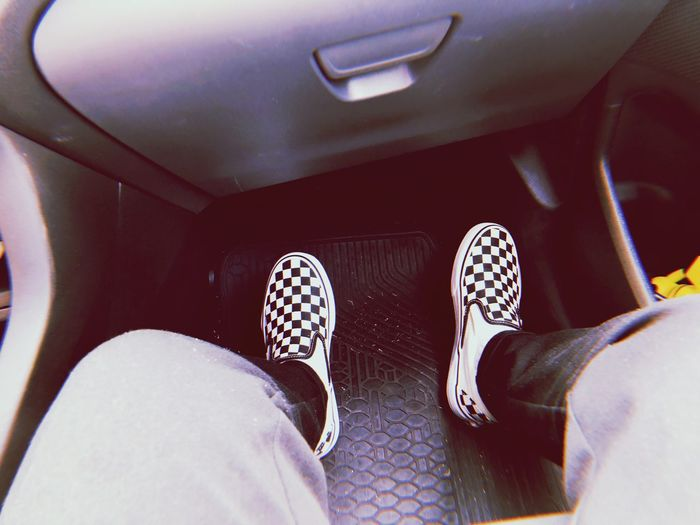 vans Shoe Low Section Human Leg Human Body Part Body Part Real People Personal Perspective One Person Mode Of Transportation Transportation Vehicle Interior Lifestyles Human Foot