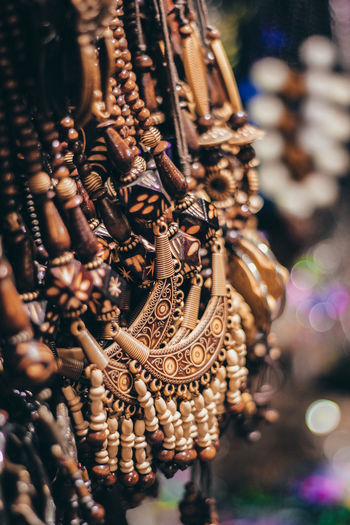 Close-up of necklaces for sale in market