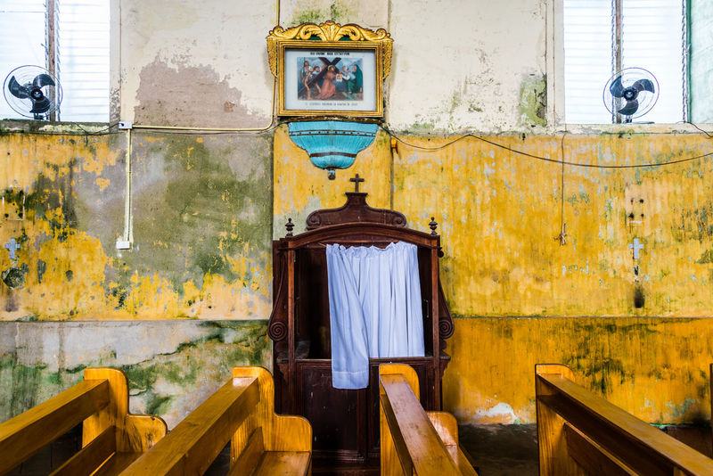 Architecture Built Structure Catholic Church Confession Day Gold Colored Indoors  Lazi Church No People Place Of Worship Religion Weathered Yellow