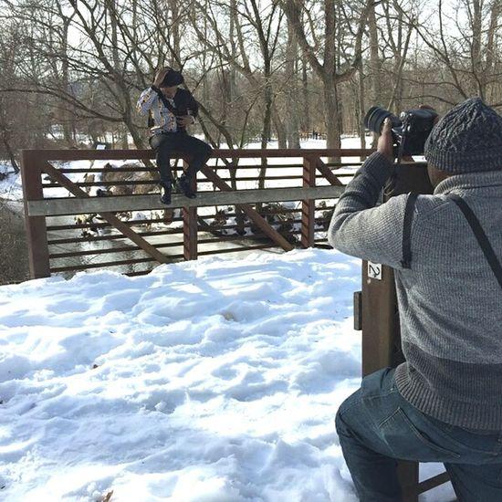Behind the scenes. Photoshoot with D. Redman SNKshot. BTS Photoshoot Snow Brigde Nature Nikon