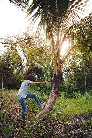 Garden Gardening Palm Tree The Portraitist - 2018 EyeEm Awards The Still Life Photographer - 2018 EyeEm Awards Beauty In Nature Casual Clothing Coconut Palm Tree Day First Eyeem Photo Full Length Grass Green Color Growth Land Leisure Activity Lifestyles Nature One Person Outdoors Plant Playing Real People Side View Standing Tree