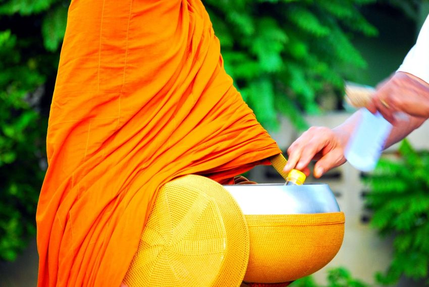 Offer food to the monk Buddha Donate Respect Alms Giving Belief Bibles Body Part Buddhism Close-up Clothing Culture And Tradition Donation Finger Focus On Foreground Hand Holding Human Body Part Human Hand Lines, Shapes And Curves Monk  Offering Orange Real People Religion