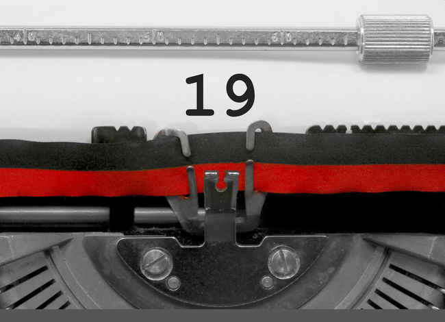 19 Number by the old typewriter 19 BIG NR Numbers Only Retro Text Type Writer Word Writing Backgrounds Nineteen Nostalgia Number Numbers Numeral Numerals Numeric Page Single Typewriter Typewriting Typing Vintage Written