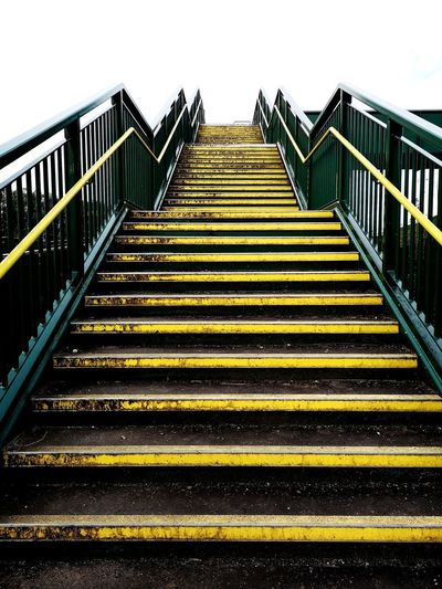 Yellow & Black EyeEmNewHere Walking Discovery Railing Yellow Clear Sky Steps And Staircases City Steps Staircase Sky