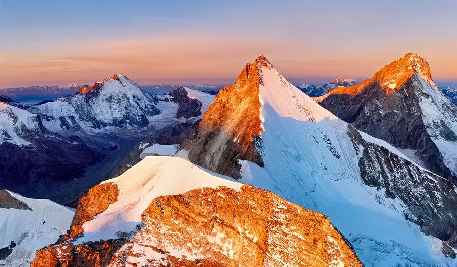 Norway mountain  with sunset on the islands lofoten. natural scandinavian landscape.
