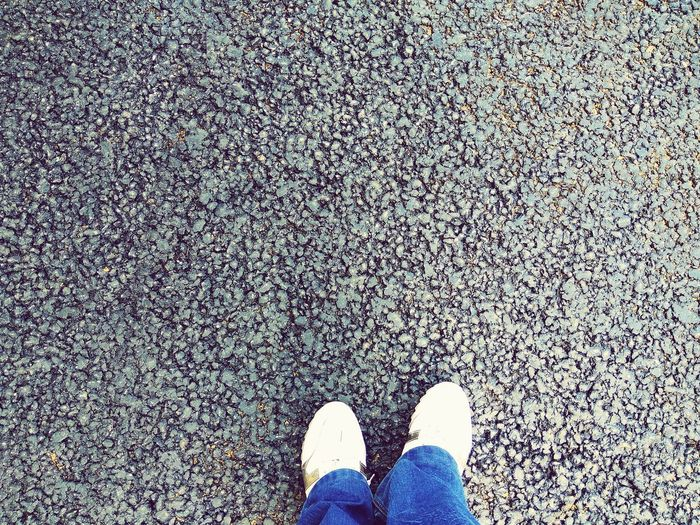 Low Section Shoe Human Leg One Person Standing Human Body Part Real People One Man Only Outdoors Close-up Bitumen Asphalt Black Day People Legs Snickers