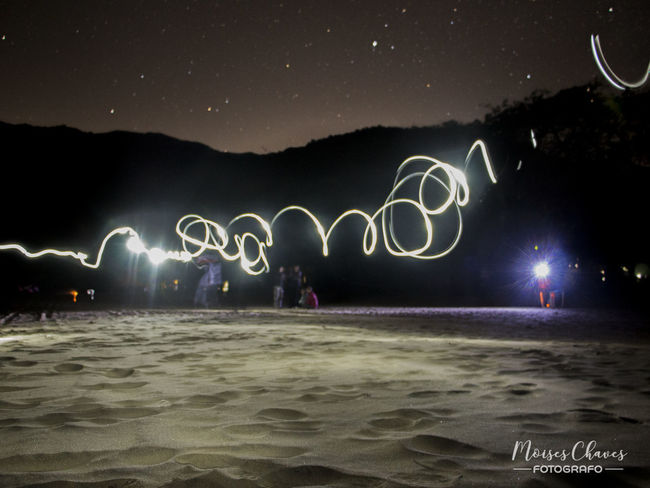 Night Beach Outdoors Lights Long Exposure
