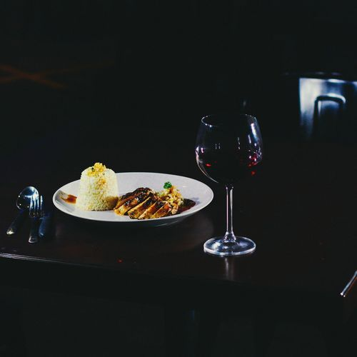 Main course Food Drink Food And Drink Gourmet Plate No People Healthy Eating Freshness Indoors  Drinking Glass Wine Black Background Martini Glass Ready-to-eat